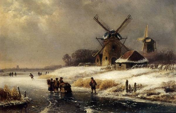 Figures On AFrozen Waterway By A Windmill